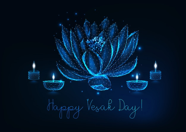 Happy vesak day greeting card with lotus flower