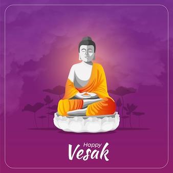 Happy vesak day greetings card