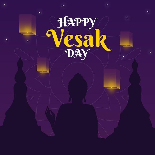 Happy vesak day illustration
