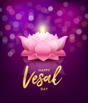 Happy vesak day lotus flower greeting card pink lotus at night on bokeh purple background eps 10