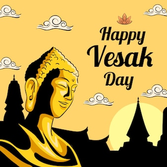 Happy vesak day with buddha and lotus