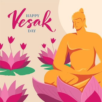 Happy vesak day with buddha statue and lotus flowers