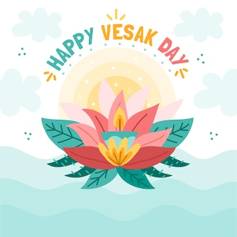 Happy vesak day with candle and lotus