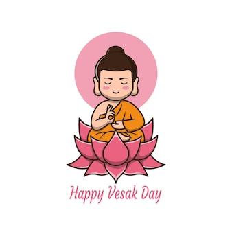 Счастливый день весак с милой иллюстрацией мультфильма будды
