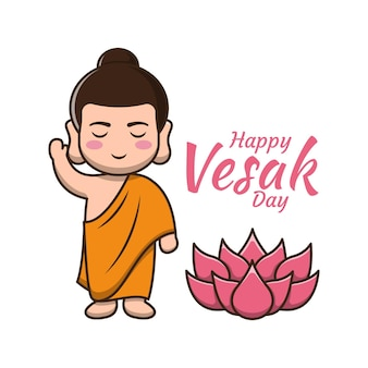 Happy vesak day with cute buddha cartoon illustration