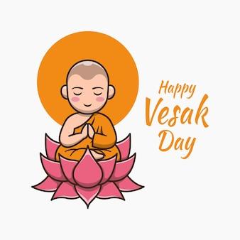 Happy vesak day with cute monk cartoon illustration