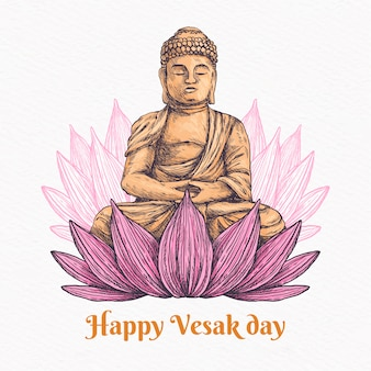 Happy vesak day with lotus and buddha