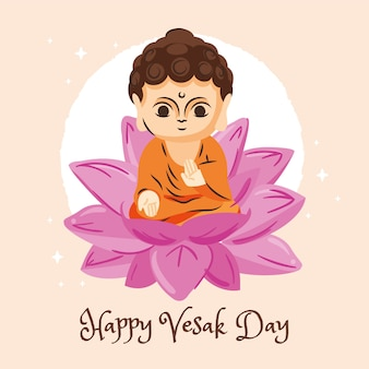 Happy vesak day with lotus flower and statuette