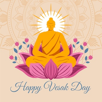 Happy vesak day with lotus flowers and buddha statue