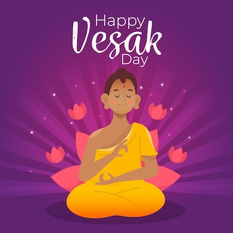 Happy vesak day with monk and lotus flowers