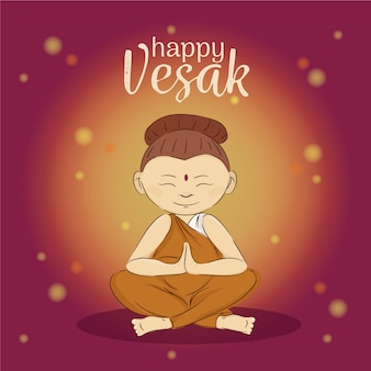 Happy vesak day with monk