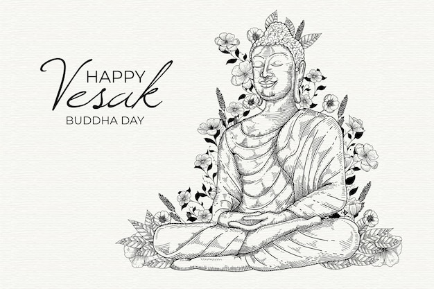 Happy vesak drawing design