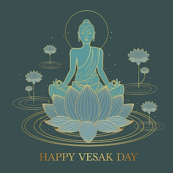 Концепция дизайна happy vesak плоский дизайн