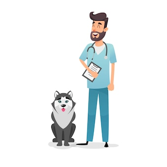 Happy vet doctor with a folder and a stethoscope stands near husky dog