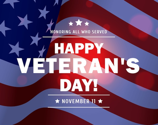アメリカの国旗を振ってアメリカ軍の退役軍人の背景の幸せな復員軍人の日