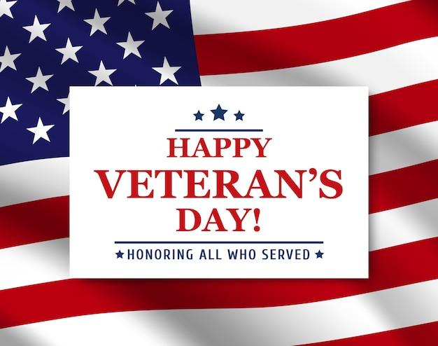 アメリカの国旗の背景と幸せな復員軍人の日ポスター