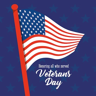 Happy veterans day, american flag in pole stars blue background  illustration