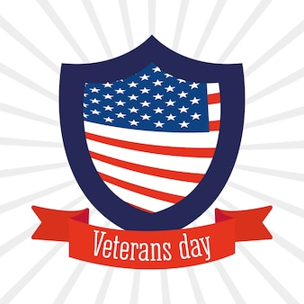 Happy veterans day, american flag in shield and ribbon sunburst background  illustration