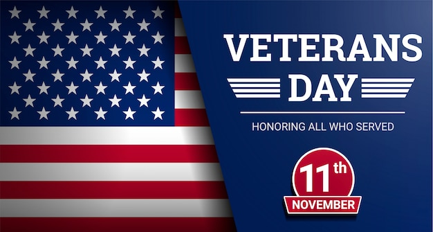 Happy veterans day  background, realistic style