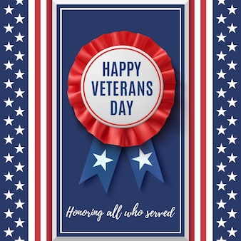Happy veterans day badge. realistic, patriotic, blue and red label with ribbon, on abstract american flag background. design template for poster, brochure or greeting card.
