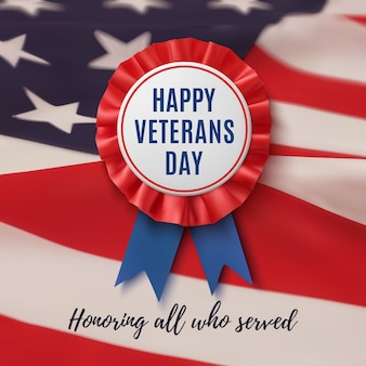 Happy veterans day badge. realistic, patriotic, blue and red label with ribbon, on american flag background. poster, brochure or greeting card template.