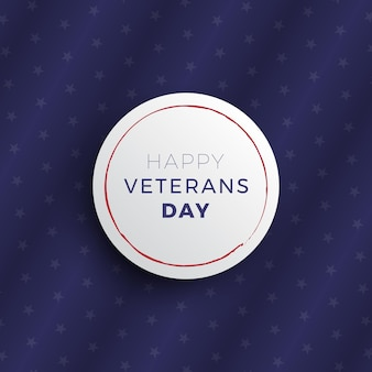 Счастливый день ветеранов дизайн макета баннера с реалистичными 3d тенями на темном фоне со звездами