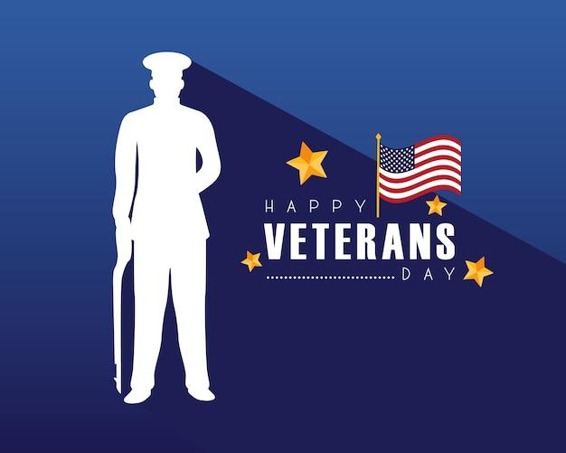 Счастливый день ветеранов карта с иллюстрацией силуэта офицера