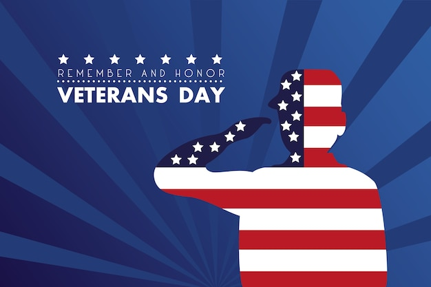 Happy veterans day card with soldier saluting usa flag illustration