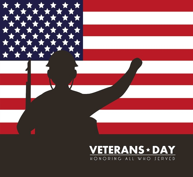 미국 국기와 군인 실루엣 일러스트와 함께 행복 한 재향 군인의 날 카드