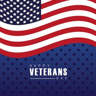 별이 빛나는 배경 그림에서 미국 국기와 함께 행복 한 재향 군인의 날 카드