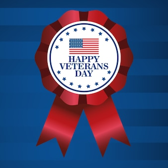 Happy veterans day celebration with lettering and flag in medal vector illustration design