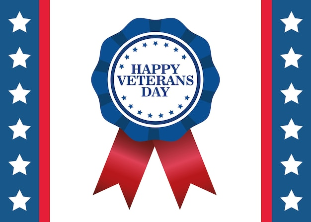 Happy veterans day celebration with lettering in medal vector illustration design
