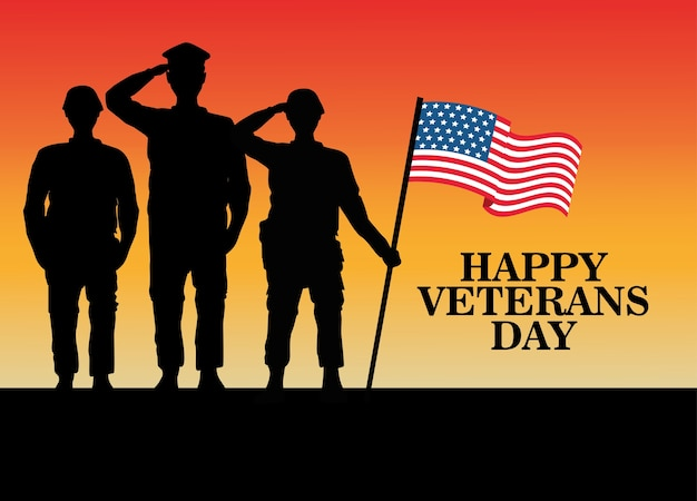 Happy veterans day celebration with military officer and soldiers saluting lifting flag vector illustration design