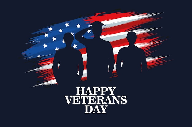 Happy veterans day celebration with military officer and soldiers saluting vector illustration design