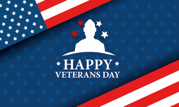 Happy veterans day celebration with silhouette military and flag