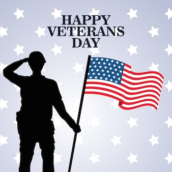 Happy veterans day celebration with soldier saluting lifting usa flag vector illustration design