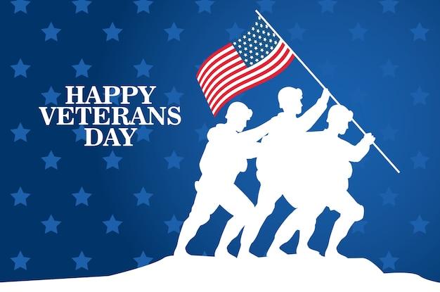 Счастливое празднование дня ветеранов с солдатами, поднимающими флаг сша в дизайне векторной иллюстрации полюса