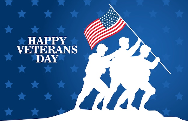 Happy veterans day celebration with soldiers lifting usa flag in pole vector illustration design