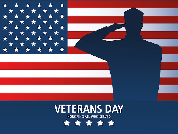 Happy veterans day, greeting card soldier salute and us flag memorial