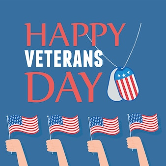 Happy veterans day, hands with american flags national symbol, us military armed forces soldier.
