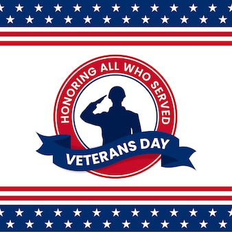 Happy veterans day honoring all who served retro vintage logo badge celebration poster