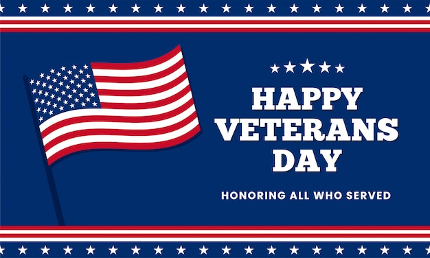 Happy veterans day honoring all who served, template design with usa america flag