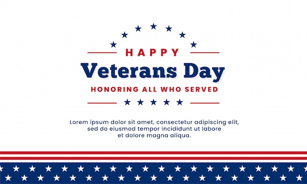 Happy veterans day honoring all who served, template design