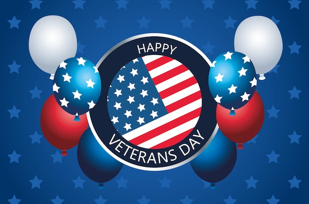 Happy veterans day lettering in button with balloons helium
