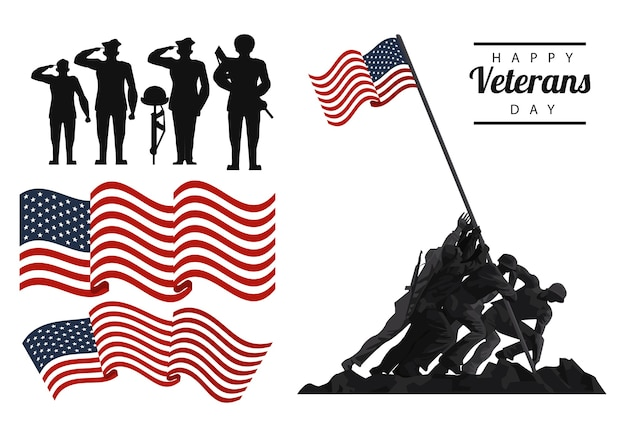 Happy veterans day lettering in poster with soldiers with flag icons illustration design