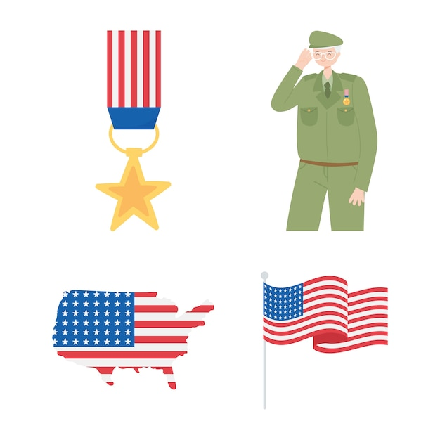 Happy veterans day, medal soldier map and american flag icons.