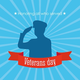 Happy veterans day, soldier saluting in silhouette and blue rays background  illustration