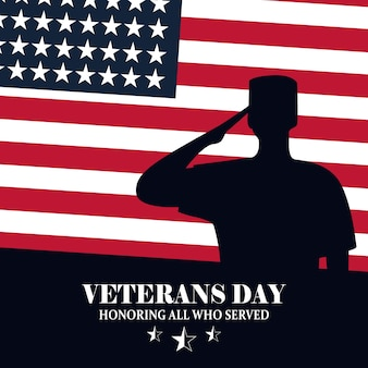 Happy veterans day, soldier us flag for memorial day vector illustration