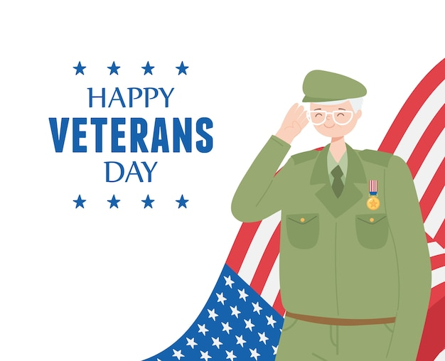 Happy veterans day, us military armed forces soldier cartoon character and flag.