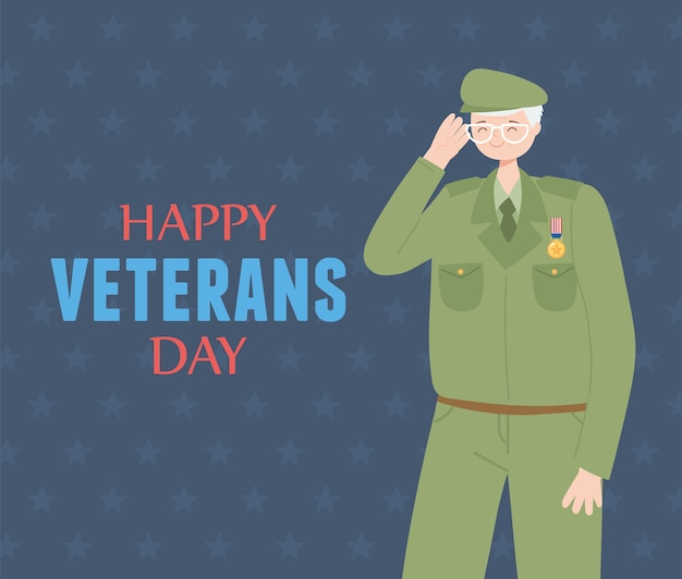 Happy veterans day, us military armed forces soldier character.